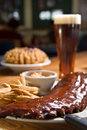 Baby back ribs with fries Stock Photo