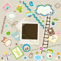 Baby background colorful scrapbook set cute elements Stock Images