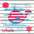 Baby background with cute whale Royalty Free Stock Photo
