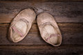 Baby ballet shoes a discarded pair of worn out vintage nostalgic effect suitable for mother s day or grandparents day Royalty Free Stock Photos
