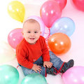 Baby with balloons Royalty Free Stock Photography