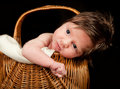 Baby in a basket Royalty Free Stock Photo