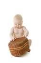 Baby with basket Royalty Free Stock Images