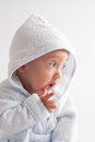 Baby after bath happy newborn child on white background Royalty Free Stock Photography