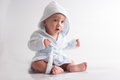 Baby after bath happy newborn child on white background Stock Photos
