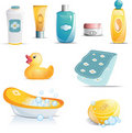 Baby Bath Time Icon Set Stock Photography