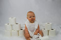 Baby & Bathroom Tissue Royalty Free Stock Photo