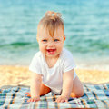 Baby on beach summer holidays concept happy the at the seaside Royalty Free Stock Photography