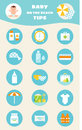 Baby on Beach Tips. Children Sun and Water Safety Rules Vector Infographics