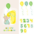 Baby bear birthday card with editable numbers invitation congratulation in vector Royalty Free Stock Photography