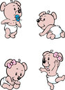 Baby bear mascot vector illustration of in nappies posing Stock Photo