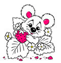 Baby bear strawberry Valentine card Stock Images