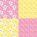 Baby bears seamless patterns set