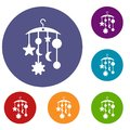 Baby bed carousel icons set