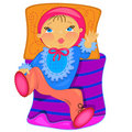 Baby in bed. illustration.isolated voorwerp Royalty-vrije Stock Afbeelding