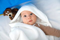 Baby with big eyes little cute blue Royalty Free Stock Photo