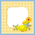 Baby bird little yellow duck and sunflower Stock Photos