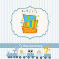 Baby birthday card with cake Stock Images