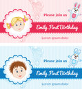 Baby birthday cards for girl and boy Stock Images