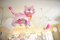 Baby birthday decor or baby shower decor pink cat Royalty Free Stock Photo