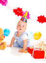 Baby at the birthday party Royalty Free Stock Images