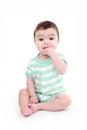 Baby biting hand Royalty Free Stock Photo