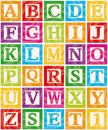 Baby Blocks Set 1 of 3 - Capital Letters Alphabet Stock Photo