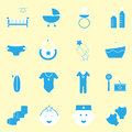 Baby blue color icons set stock vector Stock Photo