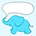 Baby blue elephant with a speech bubble cartoon illustration of an adorable little large blank white coming out of its trunk Royalty Free Stock Photo