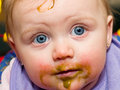 Baby Blue Eyes messy face Royalty Free Stock Photos