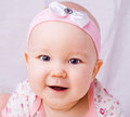 Baby with blue eyes smiling month newborn Stock Photo