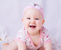 Baby with blue eyes smiling month newborn Royalty Free Stock Photos