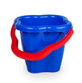 Baby blue plastic bucket with red handle isolated on white background Stock Images
