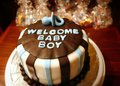 Baby bo cake welcome boy for new born celebrations shower Royalty Free Stock Images