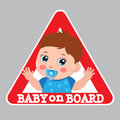 Baby On Board Sign. Car Warning Sign. Boy On Board Color Sticker. Royalty Free Stock Photo
