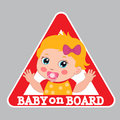 Baby On Board Sign. Car Warning Sign. Girl On Board Sticker. Royalty Free Stock Photo