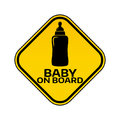 Baby on board sign with child bottle silhouette in yellow rhombus on a white background. Car sticker with warning. Royalty Free Stock Photo