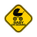 Baby on board sign with child carriage silhouette in yellow rhombus on a white background. Car sticker with warning. Royalty Free Stock Photo