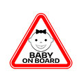 Baby on board sign with child girl smiling face silhouette in red triangle on a white background. Car sticker warning. Royalty Free Stock Photo