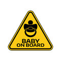 Baby on board sign with child nipple