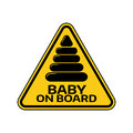 Baby on board sign with child pyramid silhouette in yellow triangle on a white background. Car sticker with warning. Royalty Free Stock Photo