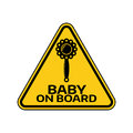 Baby on board sign with child rattle silhouette in yellow triangle on a white background. Car sticker with warning. Royalty Free Stock Photo