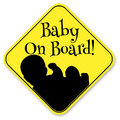 Baby on board sign isolated over white Royalty Free Stock Photo