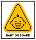 Baby on board sign on white background. Vector illustration. Royalty Free Stock Photo