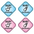 Baby on board signs in boy or girl colors vector files available Royalty Free Stock Photos