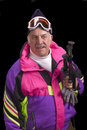 Baby boomer skier Stock Photography
