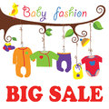 Baby born clothes hanging on the tree big sale colorful for newborn rope in branches for Stock Photos