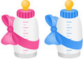 Baby bottle with bow tie scalable vectorial image representing a isolated on white Royalty Free Stock Photography
