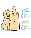 Baby with bottle vector illustration of a holding milk Royalty Free Stock Photos