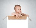 Baby in box funny the blank Royalty Free Stock Photography